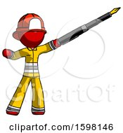 Poster, Art Print Of Red Firefighter Fireman Man Pen Is Mightier Than The Sword Calligraphy Pose