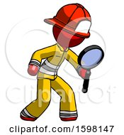 Red Firefighter Fireman Man Inspecting With Large Magnifying Glass Right
