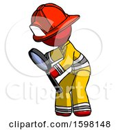 Red Firefighter Fireman Man Inspecting With Large Magnifying Glass Left