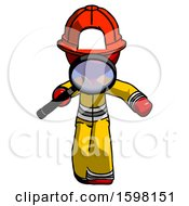Red Firefighter Fireman Man Looking Down Through Magnifying Glass