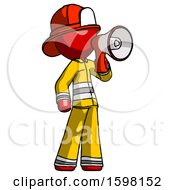 Red Firefighter Fireman Man Shouting Into Megaphone Bullhorn Facing Right