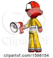 Red Firefighter Fireman Man Holding Megaphone Bullhorn Facing Right