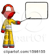 Red Firefighter Fireman Man Giving Presentation In Front Of Dry Erase Board