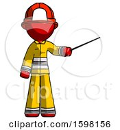 Red Firefighter Fireman Man Teacher Or Conductor With Stick Or Baton Directing