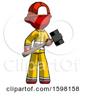 Poster, Art Print Of Red Firefighter Fireman Man With Sledgehammer Standing Ready To Work Or Defend
