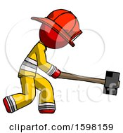 Red Firefighter Fireman Man Hitting With Sledgehammer Or Smashing Something