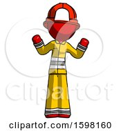 Red Firefighter Fireman Man Shrugging Confused