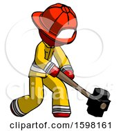 Red Firefighter Fireman Man Hitting With Sledgehammer Or Smashing Something At Angle