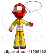 Red Firefighter Fireman Man With Word Bubble Talking Chat Icon