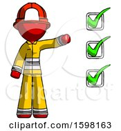 Red Firefighter Fireman Man Standing By List Of Checkmarks