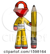 Red Firefighter Fireman Man With Large Pencil Standing Ready To Write