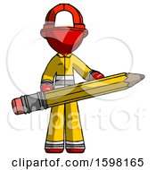 Red Firefighter Fireman Man Writer Or Blogger Holding Large Pencil