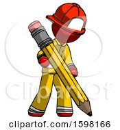 Red Firefighter Fireman Man Writing With Large Pencil
