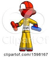 Red Firefighter Fireman Man Red Pill Or Blue Pill Concept