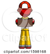 Poster, Art Print Of Red Firefighter Fireman Man Reading Book While Standing Up Facing Viewer