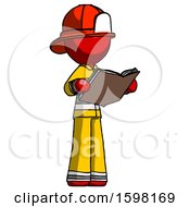 Poster, Art Print Of Red Firefighter Fireman Man Reading Book While Standing Up Facing Away