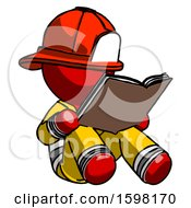 Poster, Art Print Of Red Firefighter Fireman Man Reading Book While Sitting Down