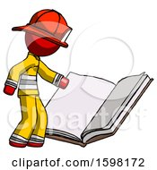 Red Firefighter Fireman Man Reading Big Book While Standing Beside It