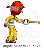 Poster, Art Print Of Red Firefighter Fireman Man With Big Key Of Gold Opening Something