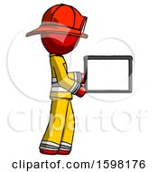 Red Firefighter Fireman Man Show Tablet Device Computer To Viewer Blank Area