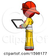 Red Firefighter Fireman Man Looking At Tablet Device Computer With Back To Viewer