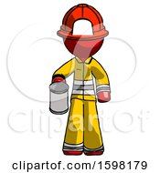 Red Firefighter Fireman Man Begger Holding Can Begging Or Asking For Charity