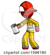Red Firefighter Fireman Man Begger Holding Can Begging Or Asking For Charity Facing Left