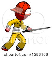 Red Firefighter Fireman Man Stabbing With Ninja Sword Katana