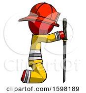 Red Firefighter Fireman Man Kneeling With Ninja Sword Katana Showing Respect
