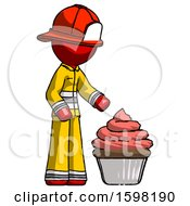 Red Firefighter Fireman Man With Giant Cupcake Dessert