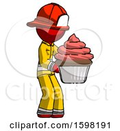 Poster, Art Print Of Red Firefighter Fireman Man Holding Large Cupcake Ready To Eat Or Serve