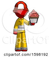 Red Firefighter Fireman Man Presenting Pink Cupcake To Viewer