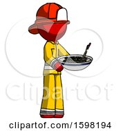 Red Firefighter Fireman Man Holding Noodles Offering To Viewer