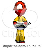 Red Firefighter Fireman Man Serving Or Presenting Noodles
