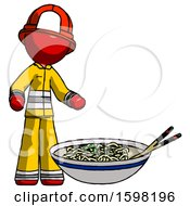 Red Firefighter Fireman Man And Noodle Bowl Giant Soup Restaraunt Concept
