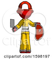Red Firefighter Fireman Man Holding Large Steak With Butcher Knife