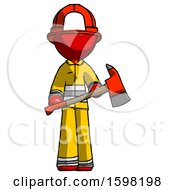 Red Firefighter Fireman Man Holding Red Fire Fighters Ax