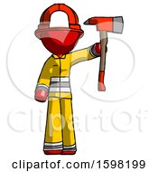 Red Firefighter Fireman Man Holding Up Red Firefighters Ax