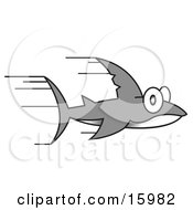 Super Fast Shark Speeding Through The Water Clipart Illustration