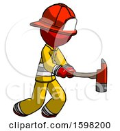 Red Firefighter Fireman Man With Ax Hitting Striking Or Chopping
