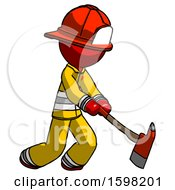 Red Firefighter Fireman Man Striking With A Red Firefighters Ax