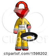 Red Firefighter Fireman Man Frying Egg In Pan Or Wok