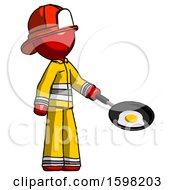 Red Firefighter Fireman Man Frying Egg In Pan Or Wok Facing Right