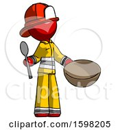 Red Firefighter Fireman Man With Empty Bowl And Spoon Ready To Make Something