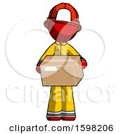 Red Firefighter Fireman Man Holding Box Sent Or Arriving In Mail