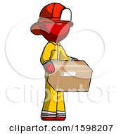 Red Firefighter Fireman Man Holding Package To Send Or Recieve In Mail