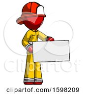 Red Firefighter Fireman Man Presenting Large Envelope