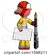 Red Firefighter Fireman Man Holding Large Envelope And Calligraphy Pen