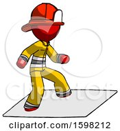 Red Firefighter Fireman Man On Postage Envelope Surfing