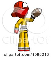 Red Firefighter Fireman Man Holding Football Up